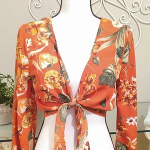 NWT Floral Front Tie Top